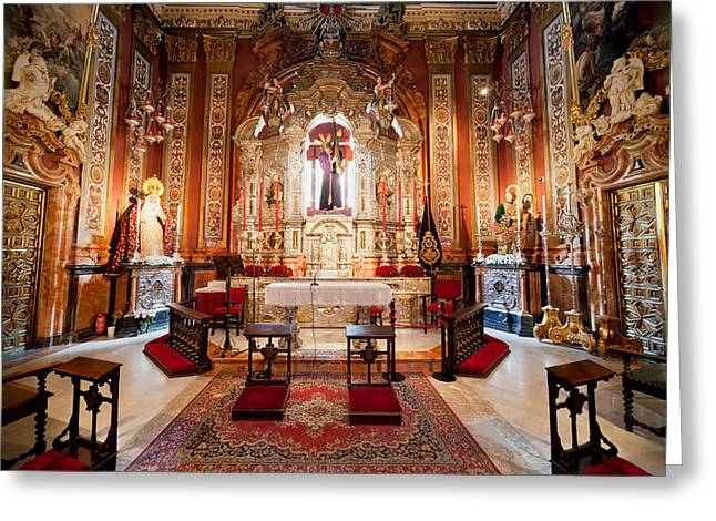 Seville Cathedral Interior In Spain Greeting Card