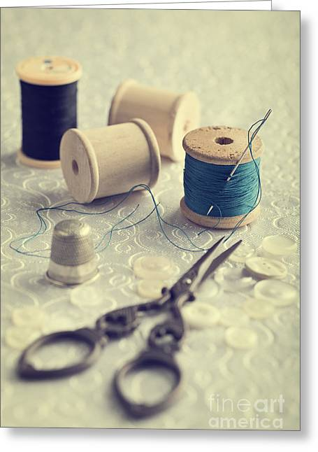 Sewing Cotton Greeting Card by Amanda Elwell