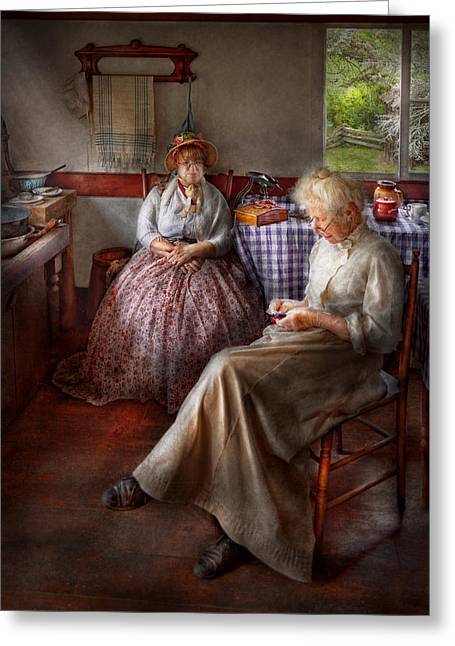 Sewing - I Can Watch Her Sew For Hours Greeting Card by Mike Savad