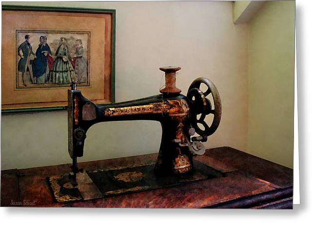 Sewing Machine And Lithograph Greeting Card