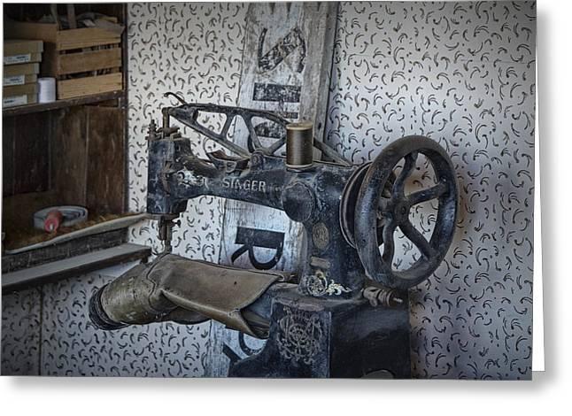 Sewing Machine In A Shoe Repair Shop Greeting Card