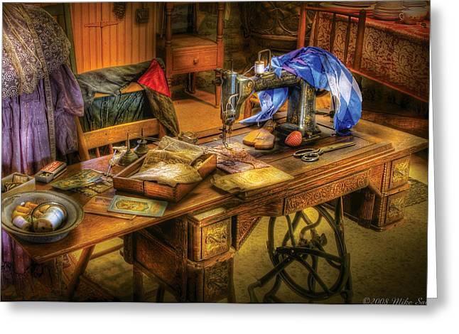 Sewing Machine  - Sewing Machine Iv Greeting Card by Mike Savad