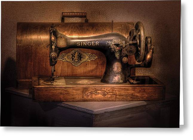 Sewing Rooms Greeting Cards - Sewing Machine  - Singer  Greeting Card by Mike Savad