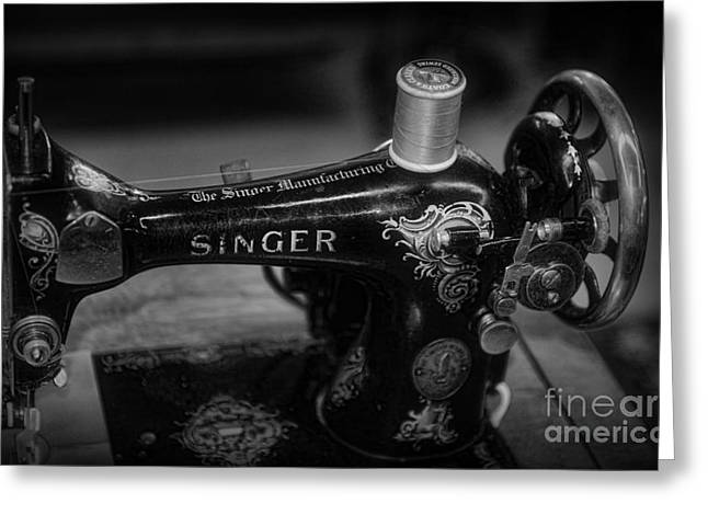 Sewing Machine - Singer Sewing Machine In Black And White Greeting Card by Paul Ward