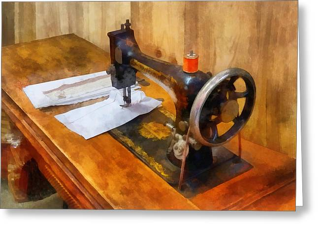 Sewing Machine With Orange Thread Greeting Card by Susan Savad