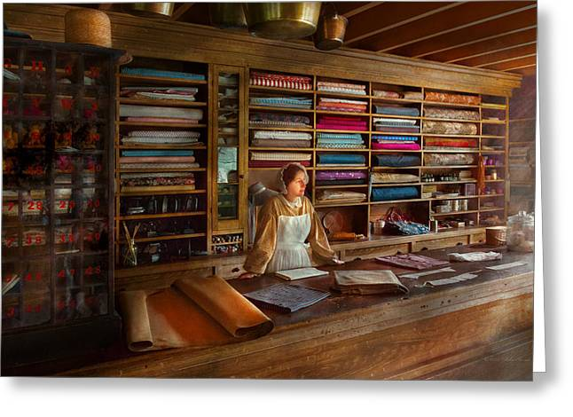 Sewing - Minding The Mending Store Greeting Card by Mike Savad