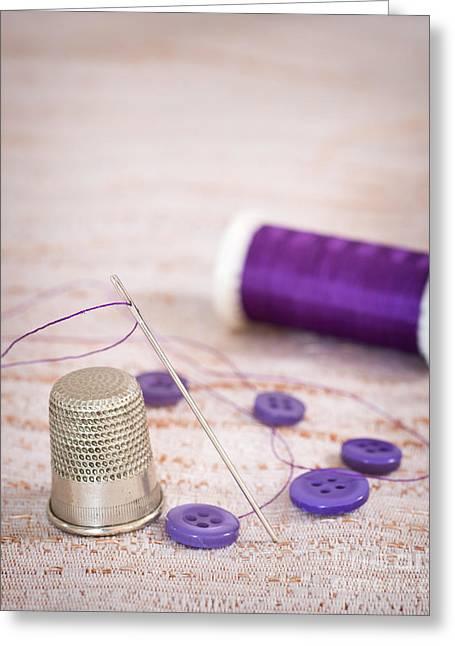 Sewing Thimble Greeting Card by Amanda Elwell