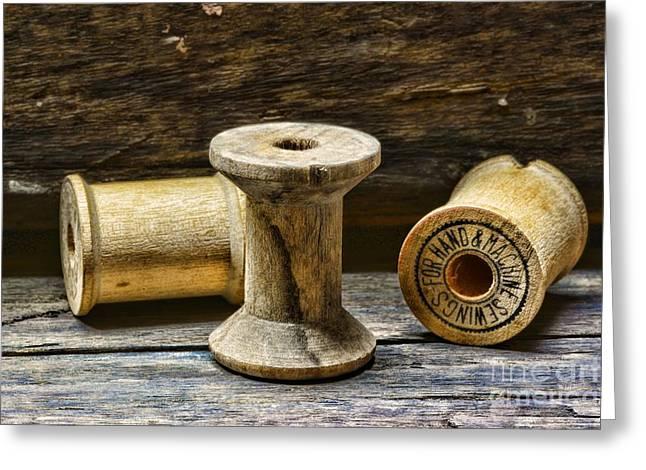 Sewing Vintage Wood Spools Greeting Card by Paul Ward