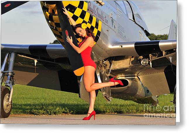 Sexy 1940s Style Pin-up Girl Posing Greeting Card by Christian Kieffer