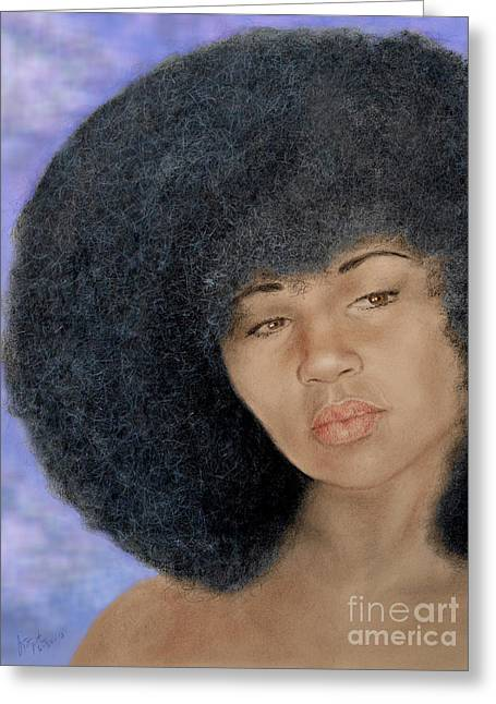 Sexy Aevin Dugas Holder Of The Guinness Book Of World Records For The Largest Afro Version II Greeting Card