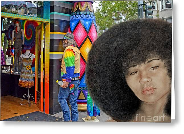 Sexy Aevin Dugas Holder Of The Guinness Book Of World Records For The Largest Afro Version IIi Greeting Card by Jim Fitzpatrick