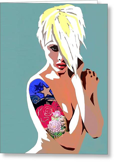Sexy Blond Greeting Card by Cindy Edwards