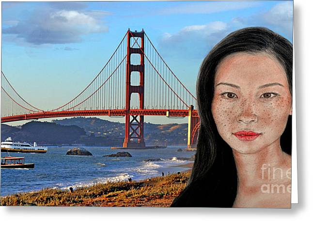 Sexy Freckle Faced Beauty Lucy Liu Altered Version Greeting Card by Jim Fitzpatrick