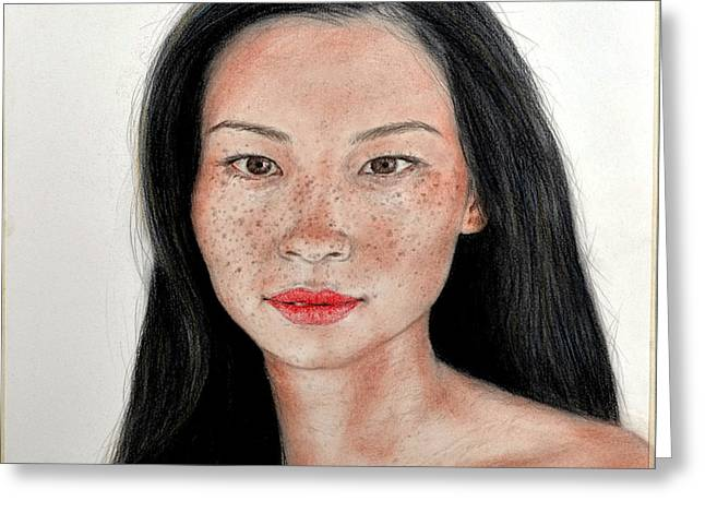 Sexy Freckle Faced Beauty Lucy Liu Greeting Card by Jim Fitzpatrick