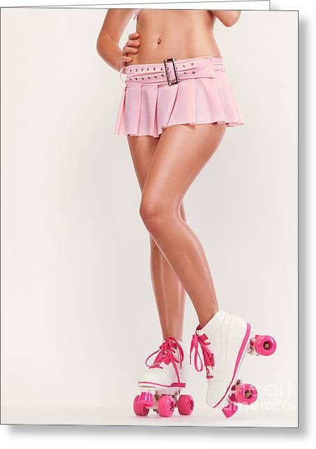 Sexy Girl Wearing Pink Roller Skates Greeting Card