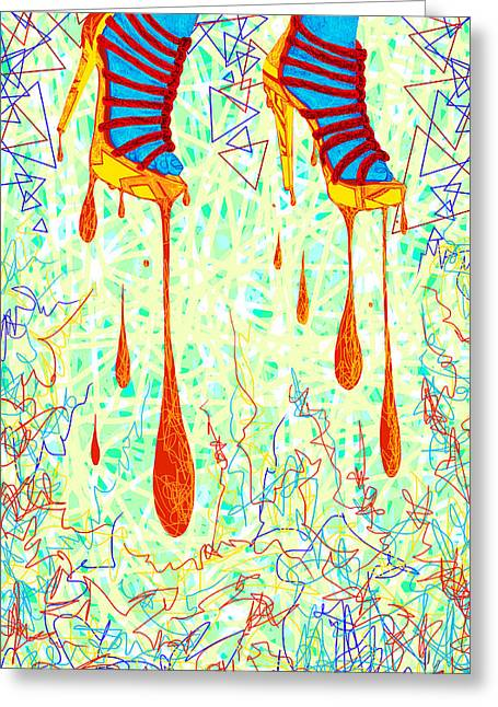 Sexy High Heels Gold Abstraction Greeting Card by Kenal Louis