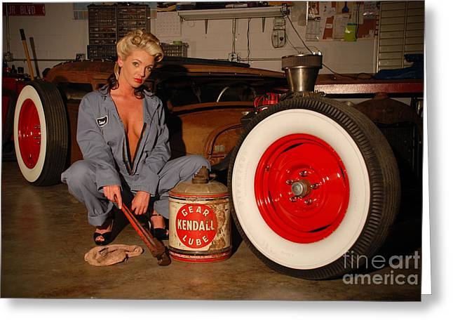 Sexy Pinup Girl With Rat Rod Car Greeting Card by Jt PhotoDesign