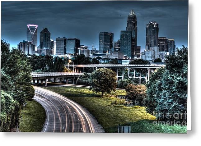 Sexy Skyline Of Charlotte  Greeting Card by Robert Loe