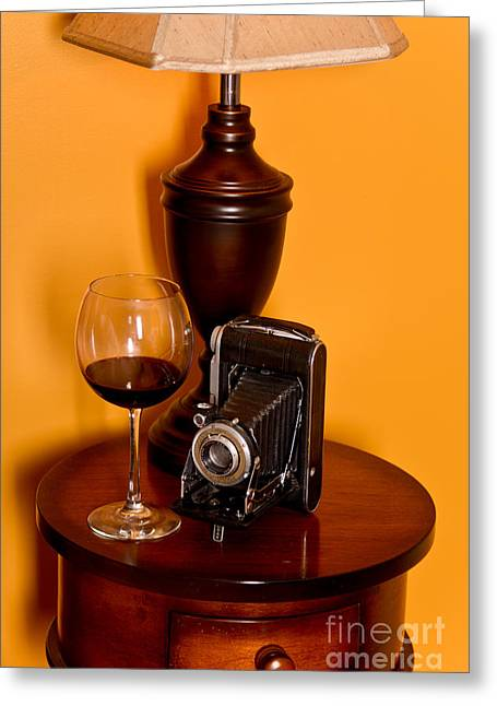 Wine And A Camera Greeting Card by Jt PhotoDesign