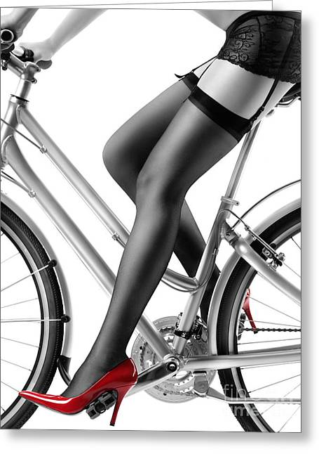 Sexy Woman In Red High Heels And Stockings Riding Bike Greeting Card