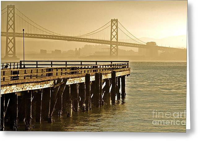 Sf Bay Bridge From Treasure Island Greeting Card by Amy Fearn