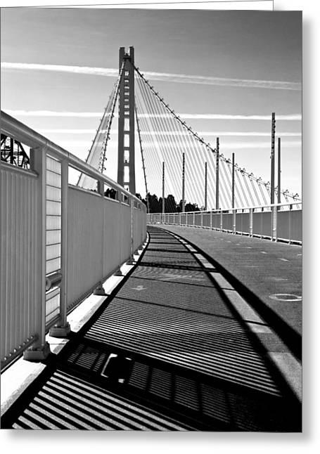 Sf Bay Bridge Pedestrian Path In Bw Greeting Card