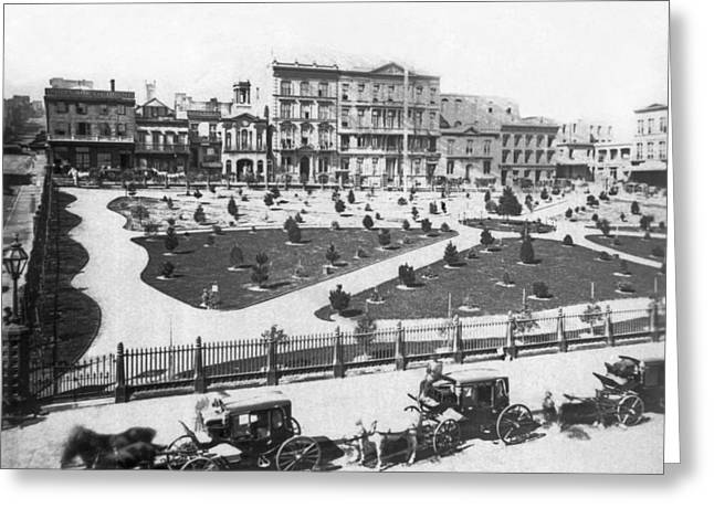 Sf Portsmouth Square Greeting Card by Underwood Archives