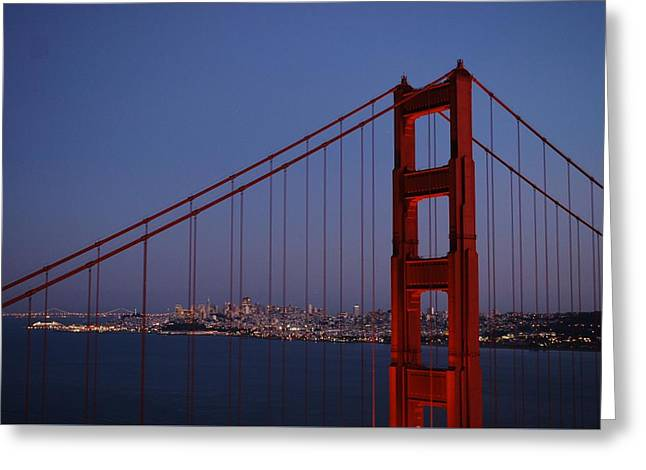 Sf Through The Bridge Greeting Card
