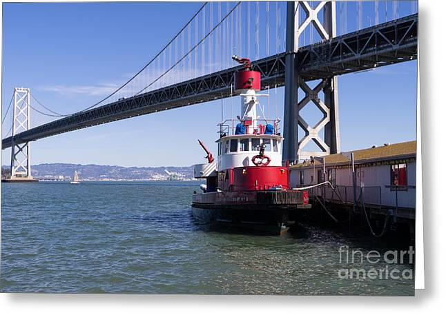Sffd Guardian Fireboat Number 2 At The Bay Bridge On The Embarcadero Dsc01841 Greeting Card