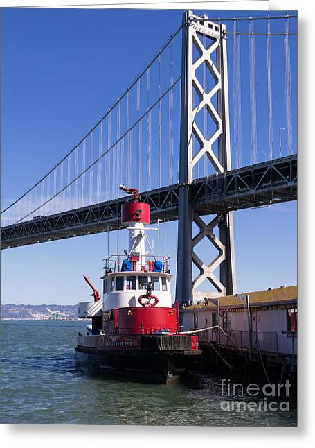 Sffd Guardian Fireboat Number 2 At The Bay Bridge On The Embarcadero Dsc01842 Greeting Card