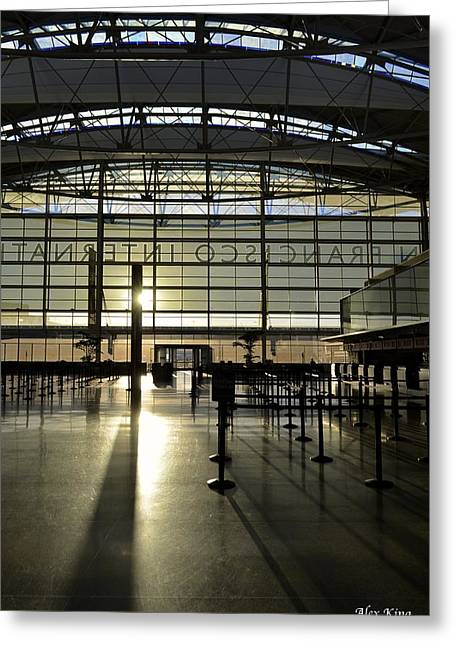 Sfo International Terminal From The Inside Greeting Card by Alex King