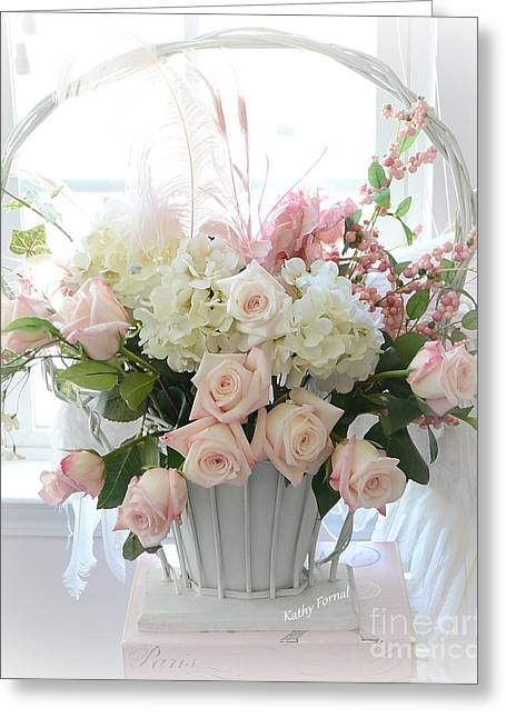 Shabby Chic Basket Of White Hydrangeas - Pink Roses - Dreamy Shabby Chic Floral Basket Of Roses Greeting Card by Kathy Fornal