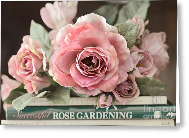 Shabby Chic Vintage Roses - Dreamy Ethereal Peach Pink Roses Garden Cottage Art Greeting Card