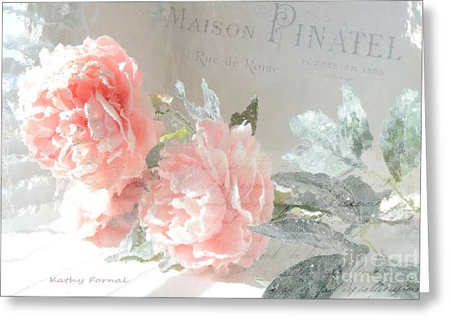 Shabby Chic Dreamy Cottage Chic Impressionistic Romantic Peach Roses Floral Art Greeting Card by Kathy Fornal