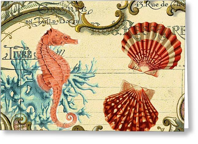 Shabby Chic French Botanical Art Seahorse Sea Shells Still Life Greeting Card by Cranberry Sky