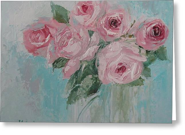 Shabby Chic Pink Roses Oil Palette Knife Painting Greeting Card
