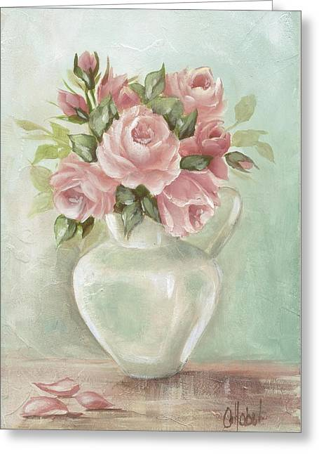 Shabby Chic Pink Roses Painting On Aqua Background Greeting Card