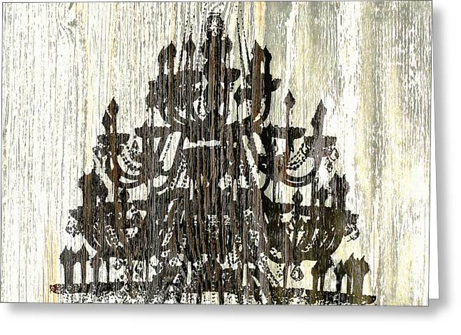 Shabby Chic Rustic Black Chandelier On White Washed Wood Greeting Card by Suzanne Powers