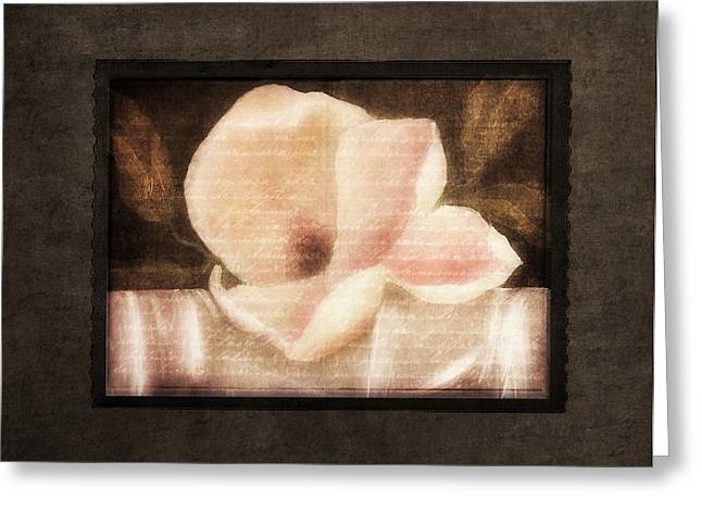 Shabby Vintage Magnolia Greeting Card by Georgiana Romanovna