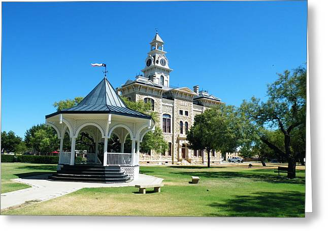 Shackelford County Courthouse Gazebo Greeting Card by The GYPSY And DEBBIE