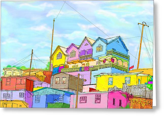 Shacks On The Hill Greeting Card by Gerry Robins