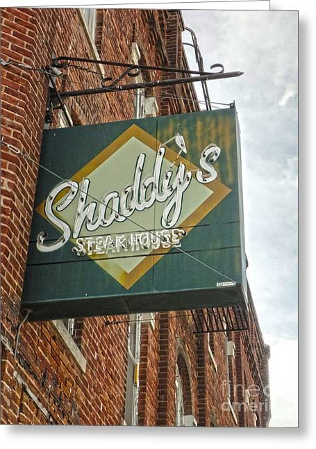 Shaddys Steakhouse Sign Montezuma Iowa Greeting Card by Gregory Dyer