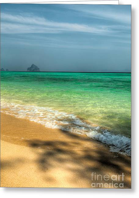 Shaded Beach Greeting Card by Adrian Evans