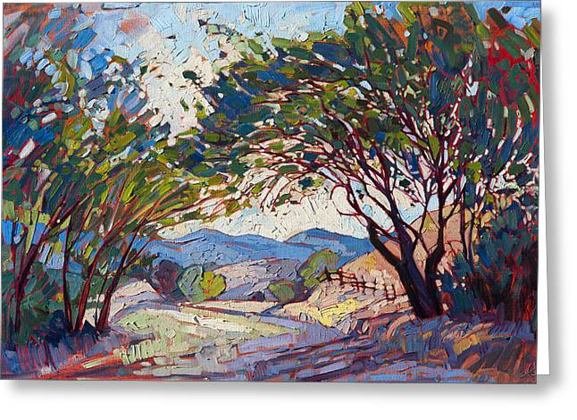 Greeting Card featuring the painting Shaded Path by Erin Hanson