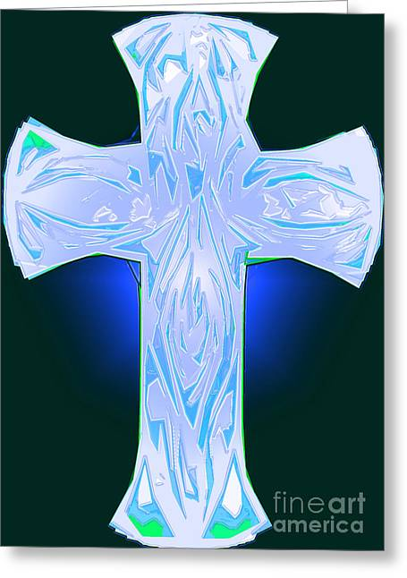 Shades Of Blue And Green Abstract Cross Greeting Card by Minding My Visions by Adri and Ray
