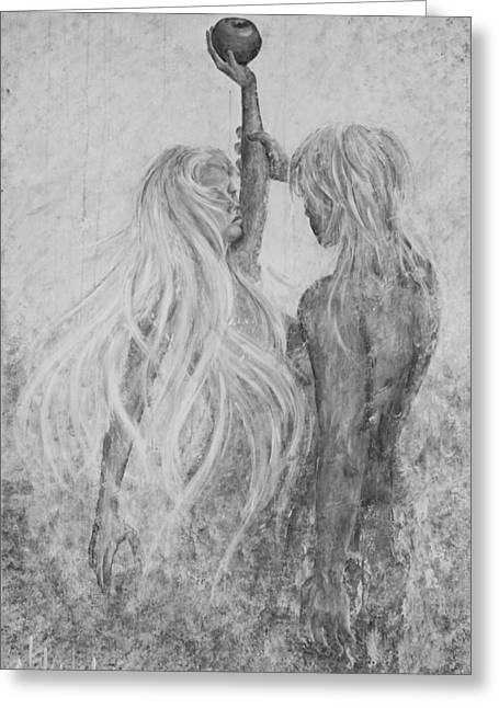 Greeting Card featuring the painting Shades Of Gray - Adam And Eve by Nik Helbig