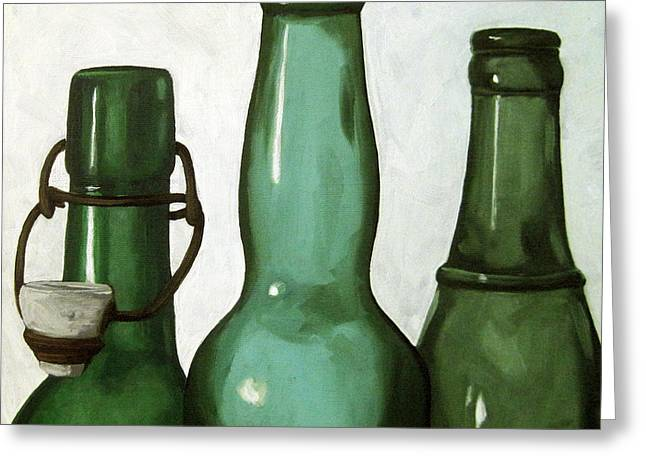 Shades Of Green - Bottles Greeting Card by Linda Apple