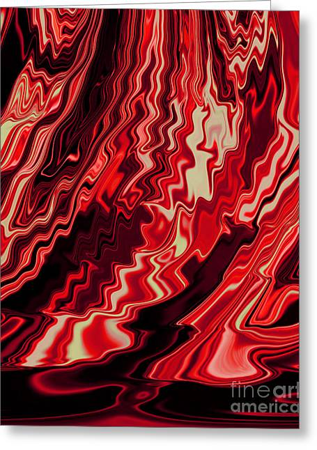 Shades Of Red And Black Blending Together Flowing Rippled Motion Greeting Card by Adri Turner