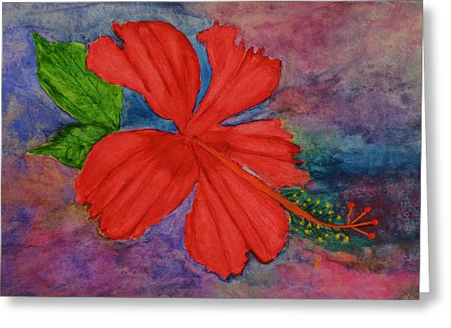 Shades Of Red Hibiscus Greeting Card by Linda Brown