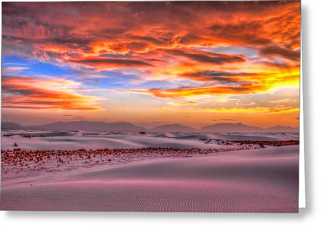 Shades Of Sunset Greeting Card by Tom Weisbrook